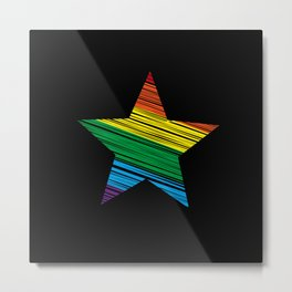 LGBT Rainbow Star Rainbow Pride Love Retro Metal Print