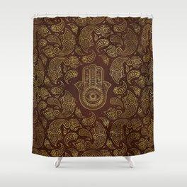 Decorative Hamsa Hand with paisley background Shower Curtain
