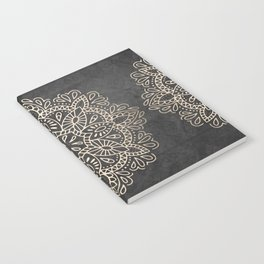 Mandala White Gold on Dark Gray Notebook