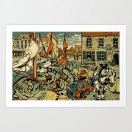 Mechelen Mosselkaai 1900 Art Print