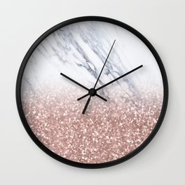 Rose Gold Glitter Marble Wall Clock