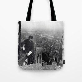 Construction worker Empire State Building NYC Tote Bag