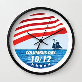 The Expedition to the End of the World - Happy Columbus Day Wall Clock