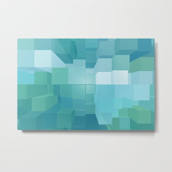 Blue and Green 3D Metal Print