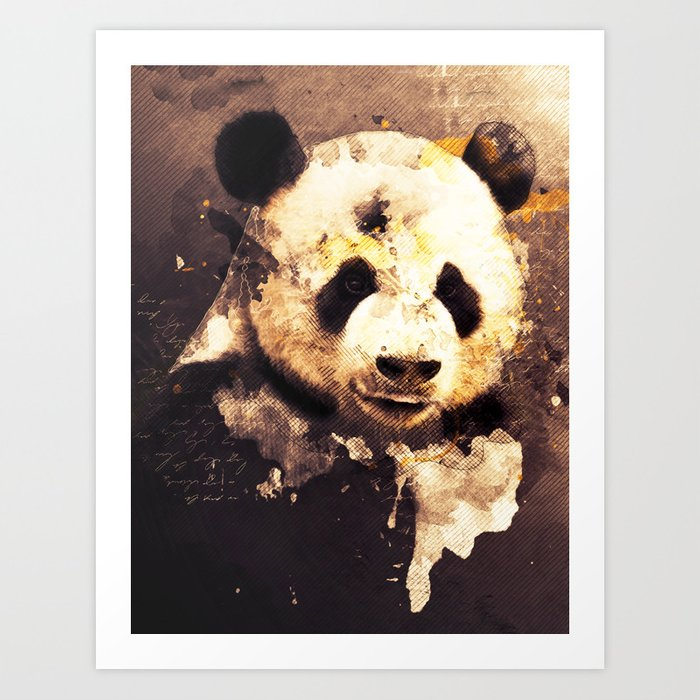 Panda Painting Abstract Art Bears Black And White Animals Brown Moden Decor Vintage Style Art Print By Joannejgg