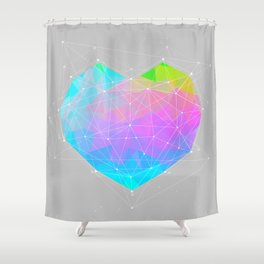 The Dots Will Somehow Connect (Geometric Heart) Shower Curtain