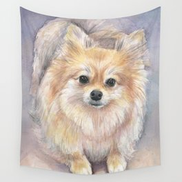 Pomeranian Watercolor Pom Puppy Dog Painting Wall Tapestry