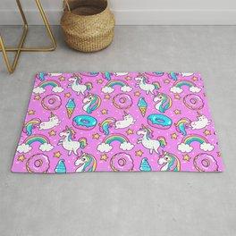 Kawaii Sweet Pink Glittery unicorn pattern Rug