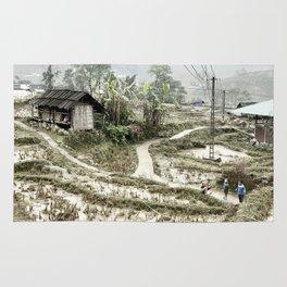 Beautiful foggy SaPa Vietnam rice fields cold winter Rug