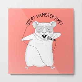 Hamster singing Hamster Time   Red Metal Print