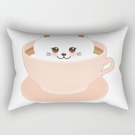 Cute Kawai cat in pink cup Rectangular Pillow