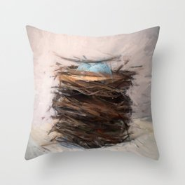 Bird Nest 3 Throw Pillow