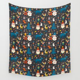 Christmas symbols pattern Wall Tapestry