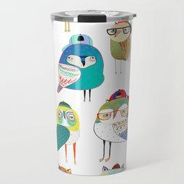 Owls, owl art, owl print, illustration, pattern, Travel Mug
