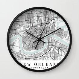 New Orleans Louisiana Blue Water Street Map Wall Clock