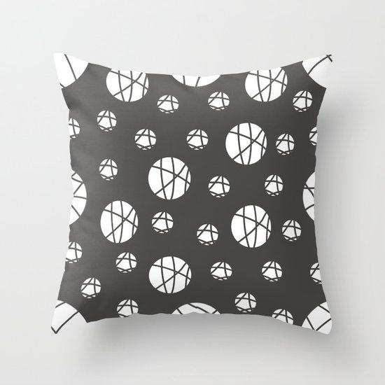 Broken Orbs (WhiteOnGray) Throw Pillow
