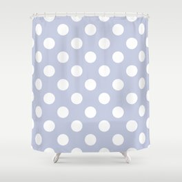 Light periwinkle - grey - White Polka Dots - Pois Pattern Shower Curtain