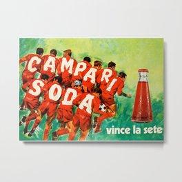 Vintage 1970 Soccer Motif Campari Soda Advertisement by Pijoan Metal Print