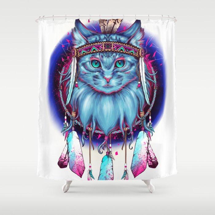 Dreamcatcher Cat Shower Curtain