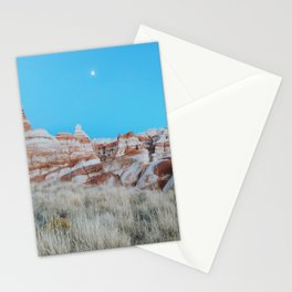 Moon Over Marbled Rock Formation Stationery Cards