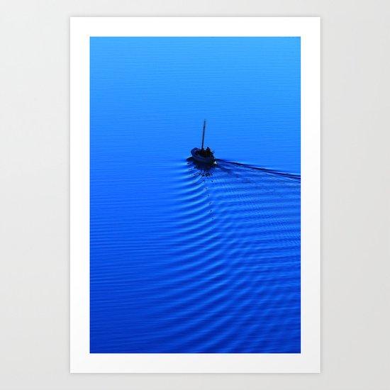 Vibrant Sailing to the Blues Art Print