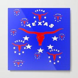 Red, White & Blue Texas Longhorn Logo Pattern Art Metal Print