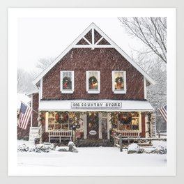 Classic Country Store Christmas Scene Art Print