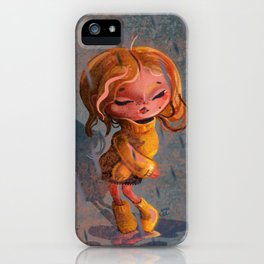 Girl in Rain Digital Painting iPhone Case