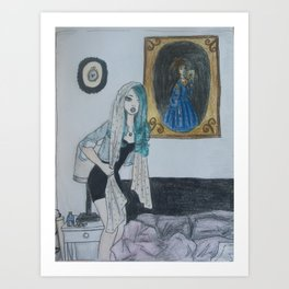Girl with a Silk Scarf Art Print