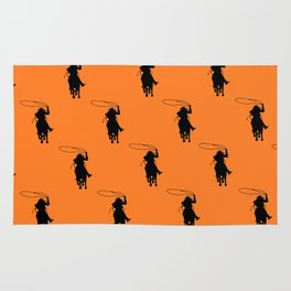 Cowgirl Roper Silhouette Pattern Rug