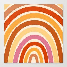 Retro Rainbow in Orange, Red & Yellow Canvas Print