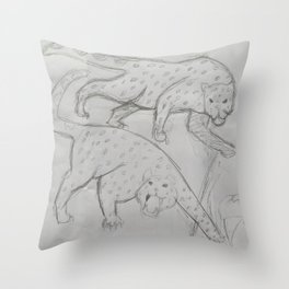 Two Snow Leopards Throw Pillow