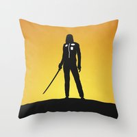 kill bill Throw Pillows featuring Kill Bill by Nick Kemp