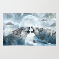 wolves Area & Throw Rugs featuring Wolves by haroulita