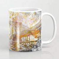 brooklyn bridge Mugs featuring Brooklyn Bridge by LebensART
