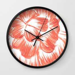 Coral / Orange Dahlia Wall Clock