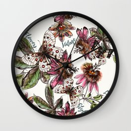 Tropical pattern with passionflower and butterlies Wall Clock
