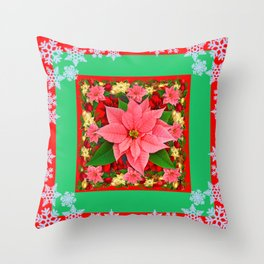 DECORATIVE SNOWFLAKES RED & PINK POINSETTIAS CHRISTMAS ART Throw Pillow