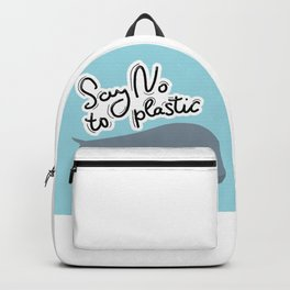 Say no to plastic. Whale, sea, ocean.  Pollution problem concept Eco, ecology banner poster. Backpack