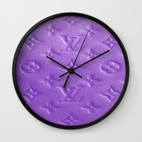 lv Wall Clocks featuring Purple LV  by Luxe Glam Decor