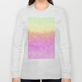 Abstract pink coral sunshine yellow watercolor brushstrokes Long Sleeve T-shirt