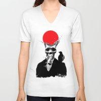 splash V-neck T-shirts featuring SPLASH SKULL by Ali GULEC