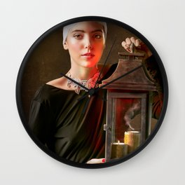 Girl with a Lantern Wall Clock
