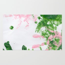 fingerpaint pink and green Rug