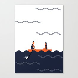 Rowing Boat Couple Canvas Print