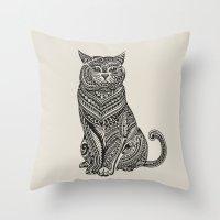 british Throw Pillows featuring Polynesian British Shorthair cat by Huebucket