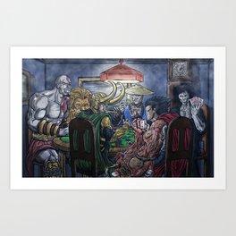 Gods Playing Poker Art Print