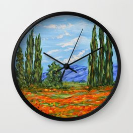 Poppy Meadow, Poppy Field Impressionist Painting Wall Clock