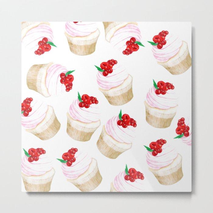 Classic Cupcakes pattern Metal Print
