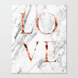 Rose gold marble LOVE Canvas Print